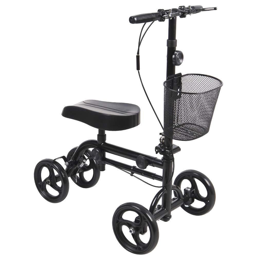Give Me Dual Best Value Knee Scooter Steerable Knee Walker Crutch Alternative with Dual Braking System in Black by Give Me