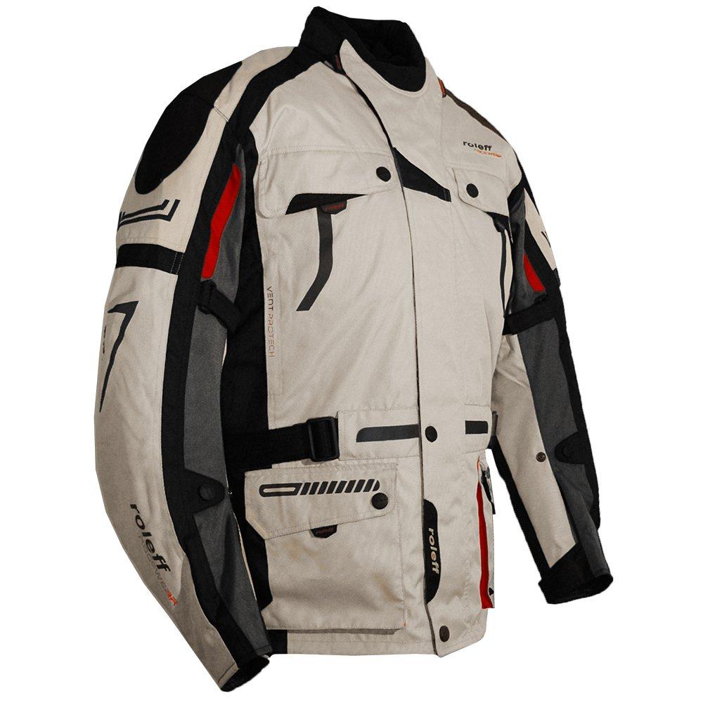 S Chaqueta de Moto negro//plateado//gris//rojo Roleff Racewear