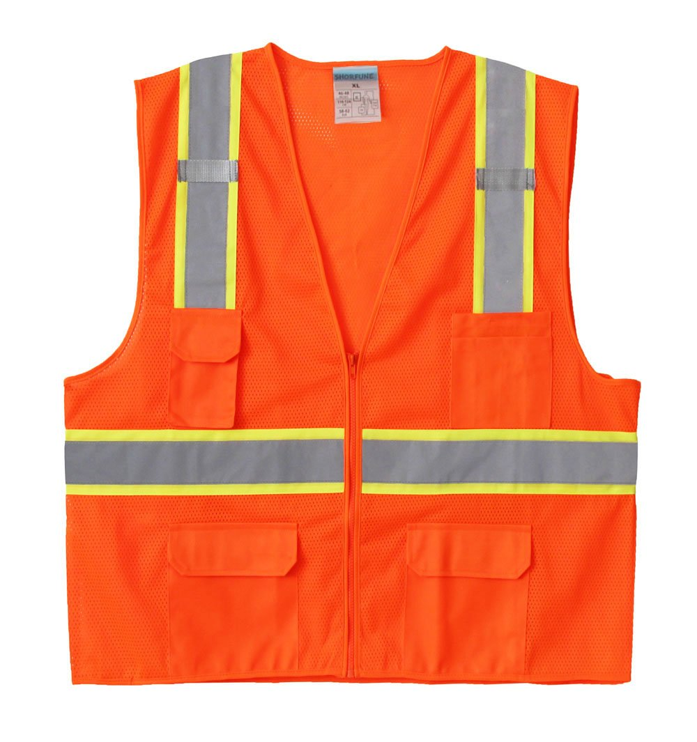 SHORFUNE High Visibility Reflective Safety Vest with Pockets and Zipper,Breathable Mesh,Neon Orange,XL