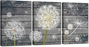 ZingArts 3 Panel Floral Canvas Wall Art Dandelion Flower on Grey Vintage Wood Background Neutral Plant Picture Print on Canvas Stretched and Framed for Rustic Home Decor Ready to Hang 16x24inchx3pcs