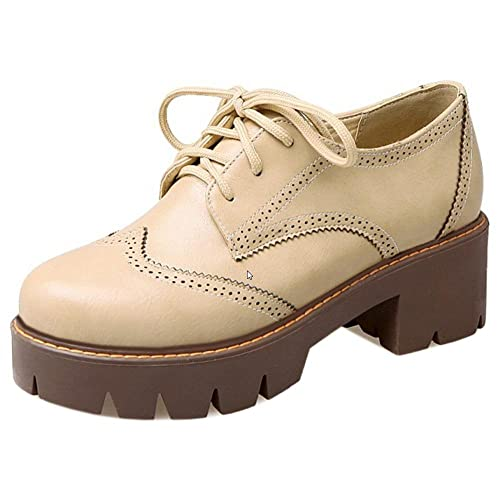 Derbies Bout Brogue Lacets Wingtips Rond Chaussures Femmes Coolcept q4wEYU
