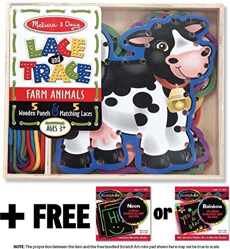 (Farm Animals: Lace and Trace Box Set + FREE Melissa & Doug Scratch Art Mini-Pad Bundle [37815])