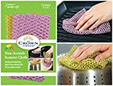 Non-Scratch HEAVY DUTY Scouring Pad or Pot Scrubber Pads (1 Pk of 2) | For Scouring Kitchen, Dishwashing, Cleaning | Nylon Mesh Scrubbing Scrubbies | Scrub Pads Cloth Outlast ANY Sponges