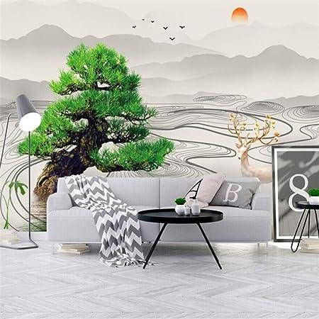 ZHAOCHENBO Papel Pintado,Gran Mural 3D Papel Tapiz Personalizado Abstracto Paisaje Tinta China Árbol Antiguo Televisor Sofá Antecedentes Cartel Mural Fotográfico En La Decoración del Hogar: Amazon.es: Hogar