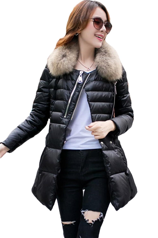 queenshiny Damen Lange Daunenjacke Mantel Jacke mit Waschbär Pelz Kragen Mode Winter