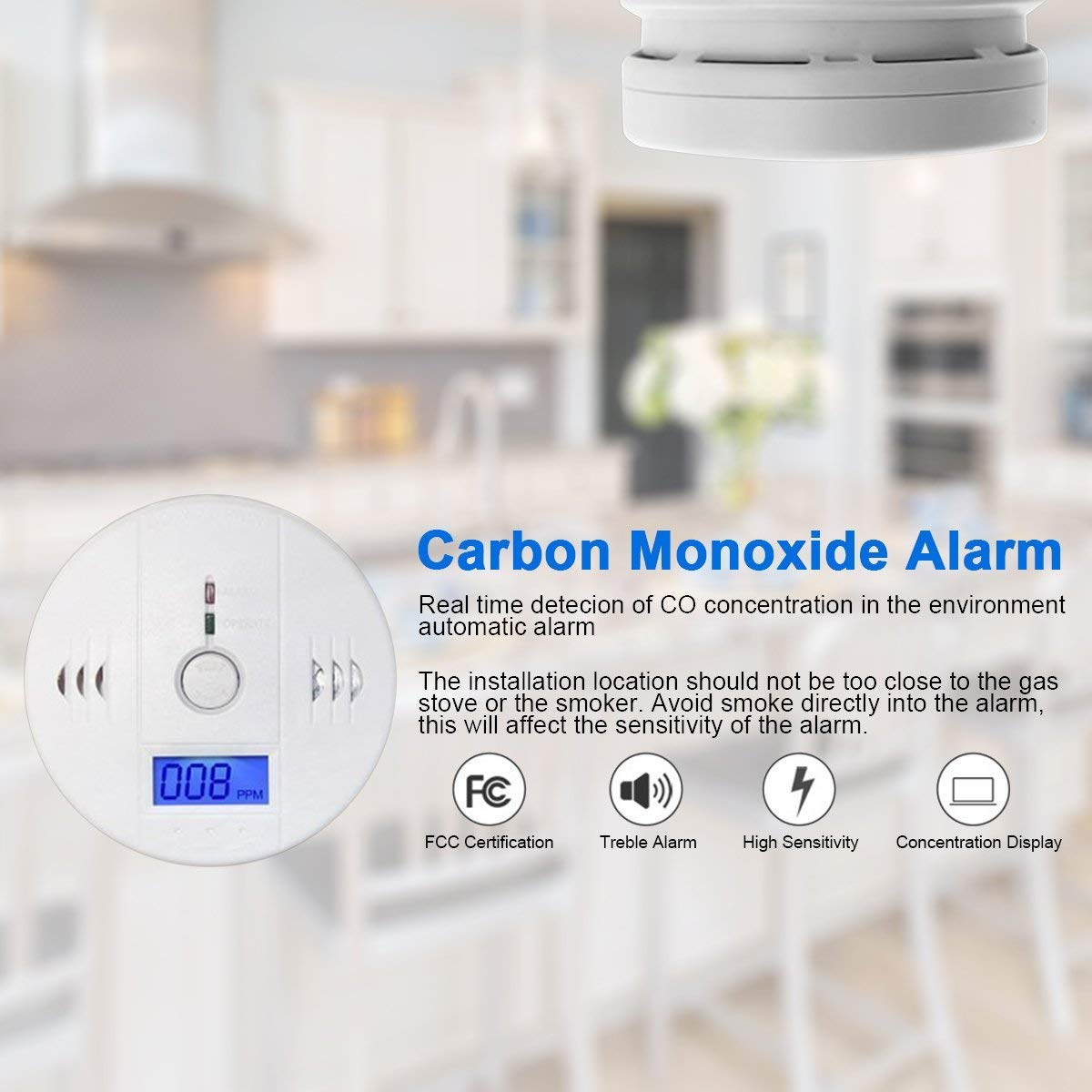 Carbon Monoxide Gas Detection,Digital Display Carbon Monoxide Alarm, Electronic Equipment, Firstbuy Power Detection Equipment, Alarm Clock Warning, White