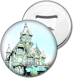 Weekino Fridge Magnets USA America Eureka Carson Mansion California Bottle Opener Beer Magnet Travel Souvenir Collection Gift