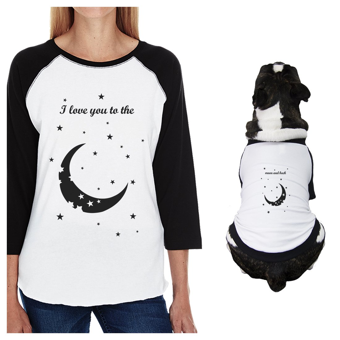 365 Printing Moon and Back Small Dog and Mom Matching Outfits Raglan Tees Cotton (ONWER - L/Pet - M)