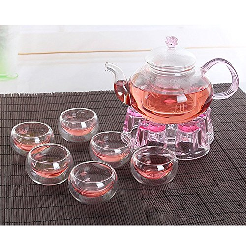 DecentGadget Glass Filtering Tea Maker Tea Set 6 High Heat Resistant Borosilicate Glass Cups + One 600ML Borosilicate Teapot + One Borosilicate Teapot Warmer(6 cups+heart-shape warmer+teapot) -