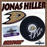 "JONAS HILLER Signed ANAHEIM DUCKS Puck w/COA ""NEW - Autographed NHL Pucks"