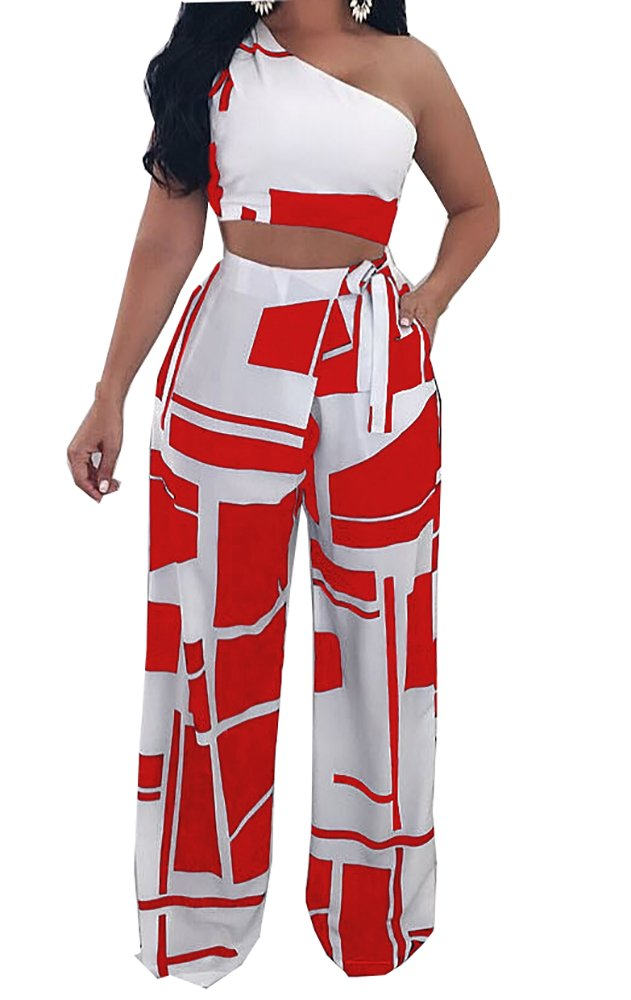 Muesily Women's One Shoulder Crop Top & Boot Cut Colorblock Pantsuit Two Pieces