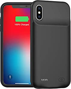 Battery Case for iPhone Xs Max, Enhanced 10000mAh Protective Portable Charging Case Rechargeable Extended Battery Pack Compatible with iPhone Xs Max (6.5 inch) Charger Case (Black)