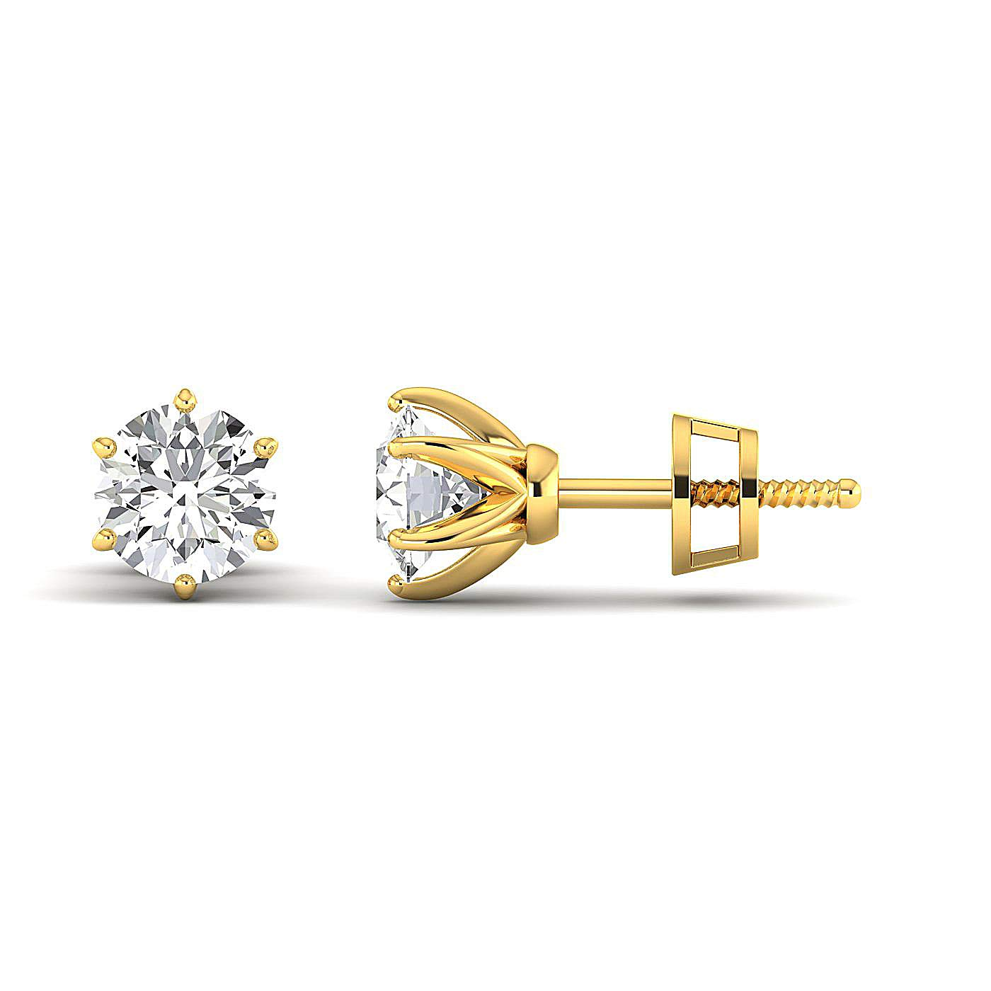 GH//VVS Round Brilliant Earring Studs 0.3 to 4 Carat Moissanite Stud Earrings Stud Earrings for Women perfect Jewelry Gifts for Women Teen Girls 14K yellow-gold