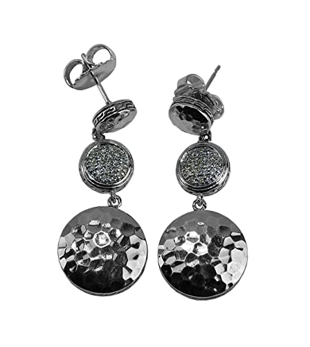 589dda3b9 Image Unavailable. Image not available for. Color: HARDY JOHN STERLING  SILVER WHITE DIAMOND PALU DISK EARRINGS ...