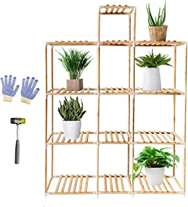 AIKUPNEY Plant Stand Wood Garden Plant Shelf Rack with 4 Tier 13 Potted,59-inch Tall Indoor Outdoor Perfect for Home Office Veranda