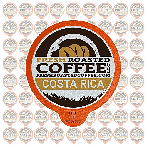 Fresh Roasted Coffee LLC, Costa Rica Tarrazu Coffee Pods, Medium Roast, Single Origin, Capsules Compatible with 1.0 & 2.0 Single-Serve Brewers, 72 - Copper Chocolates