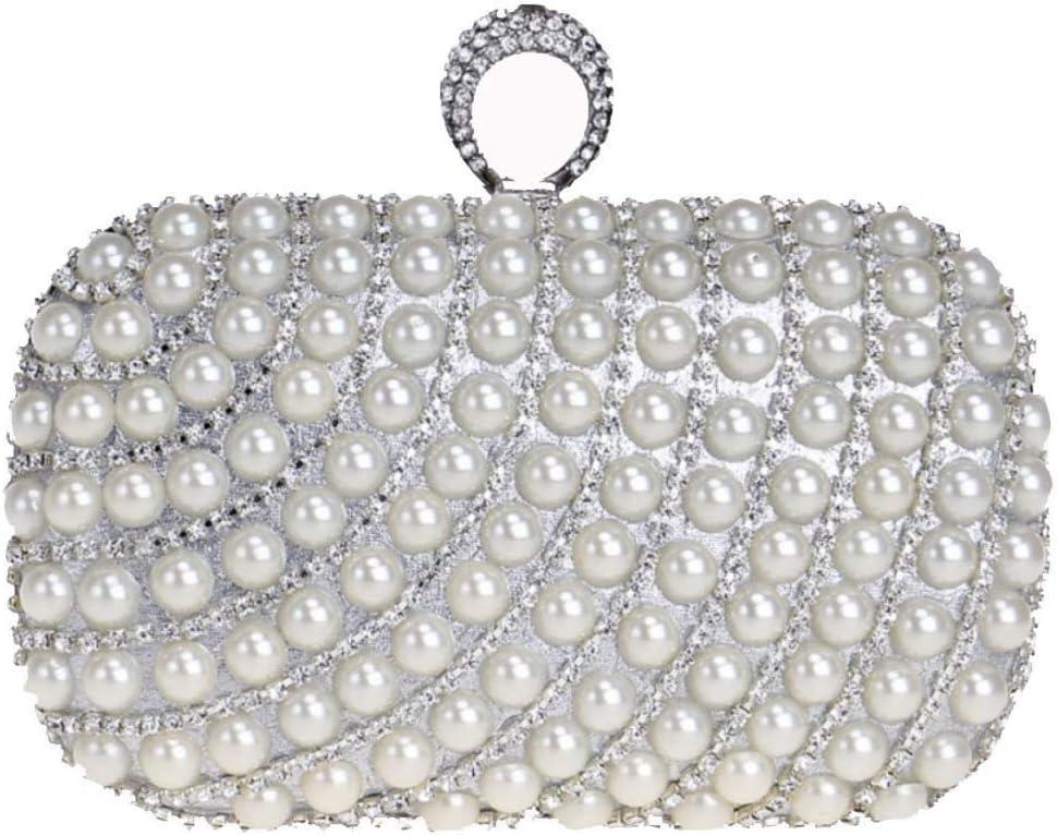 XBTMY Embrague de Mujer Bolsos de Noche Bolso de Perlas Artificiales con Cuentas Completas for Bodas Parites Prom (Color : Blue) Silver