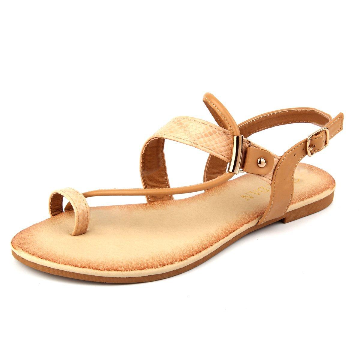 MuDan Thong Flat Gladiator Summer Sandals (5 B (M) US, Beige)