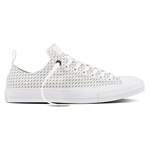 Shoes Outlet - Converse Chuck II Shield Lycra Oxford White Grey Mens Trainers