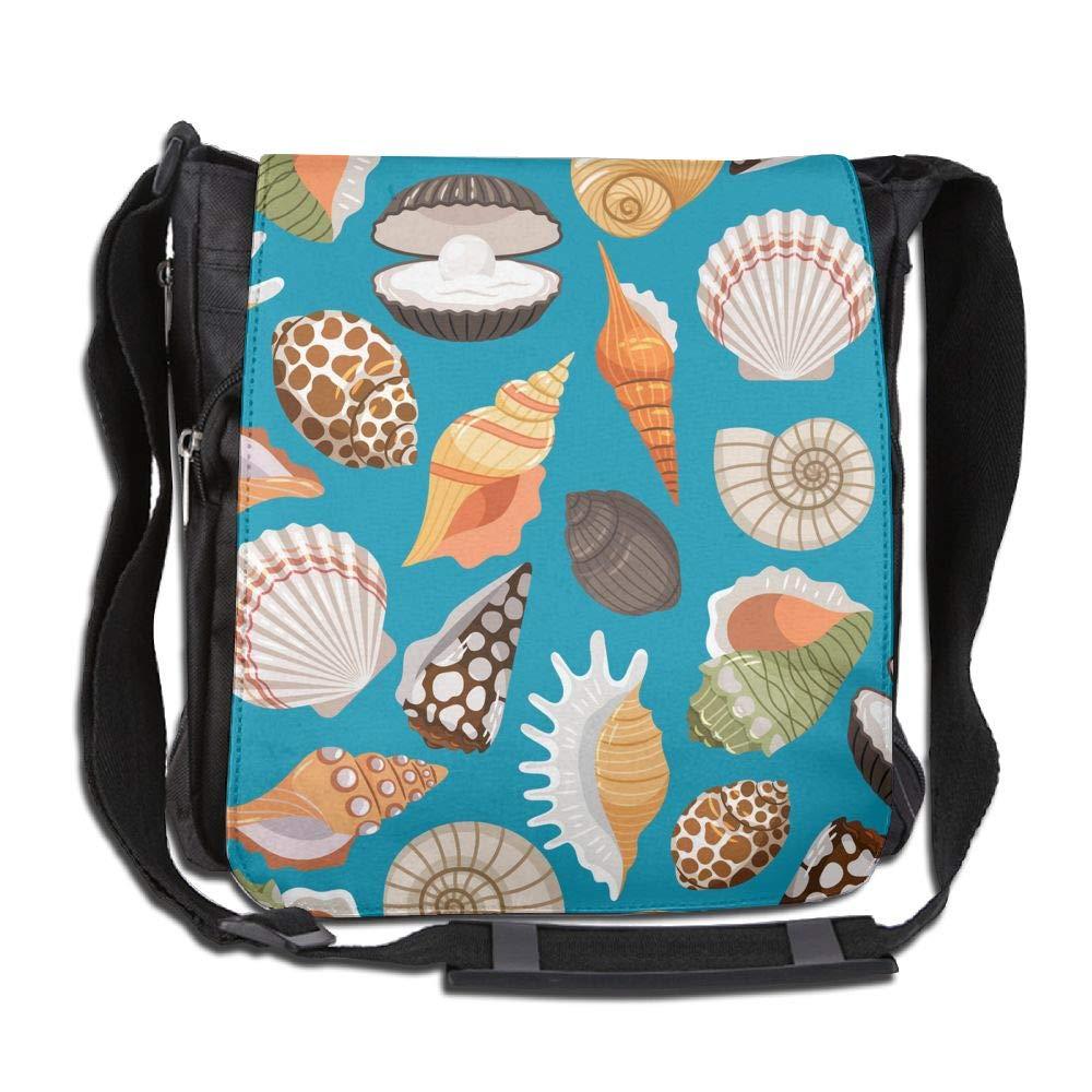 SARA NELL Messenger Bag,travel With Sea Shells,Unisex Shoulder Backpack Cross-body Sling Bag