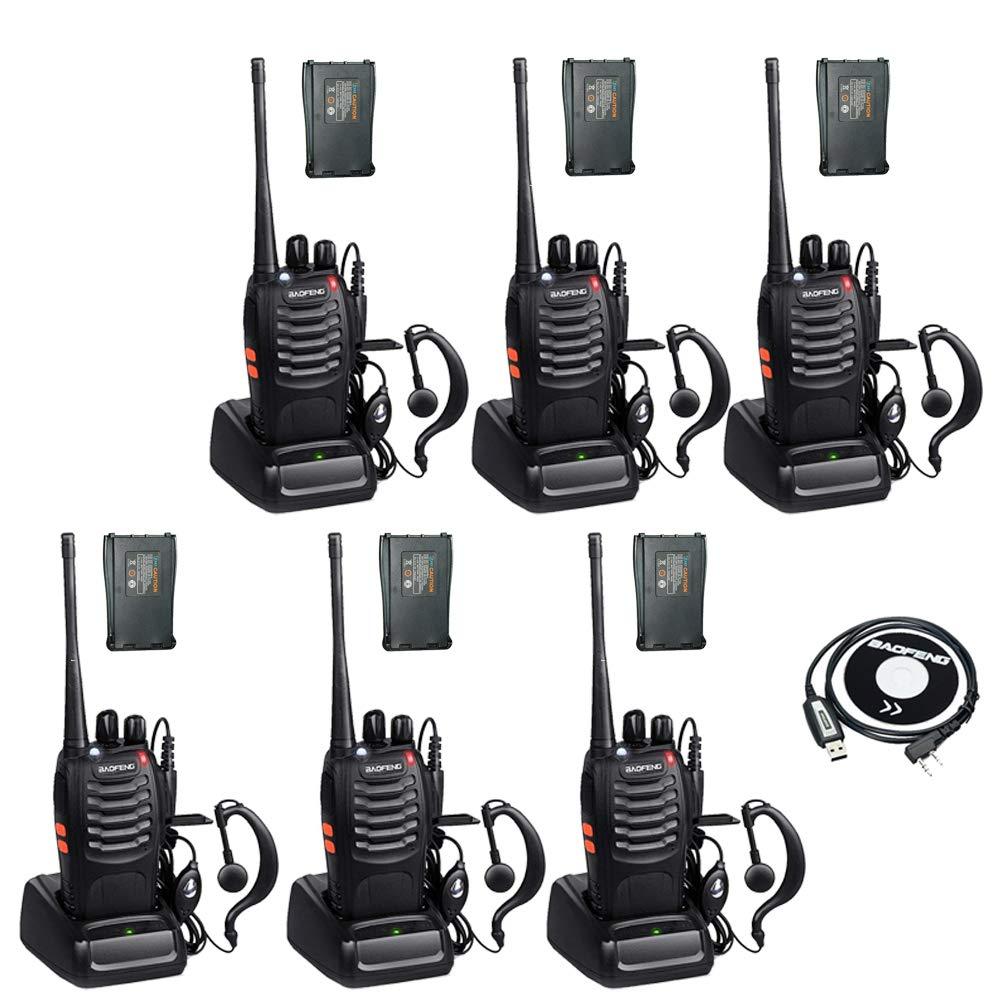 BaoFeng BF-888s 2 Way Radio Walkie Talkies Long Range Rechargeable Two Way Radio with 12 1500mah Li-ion Batteries (6 Pack)
