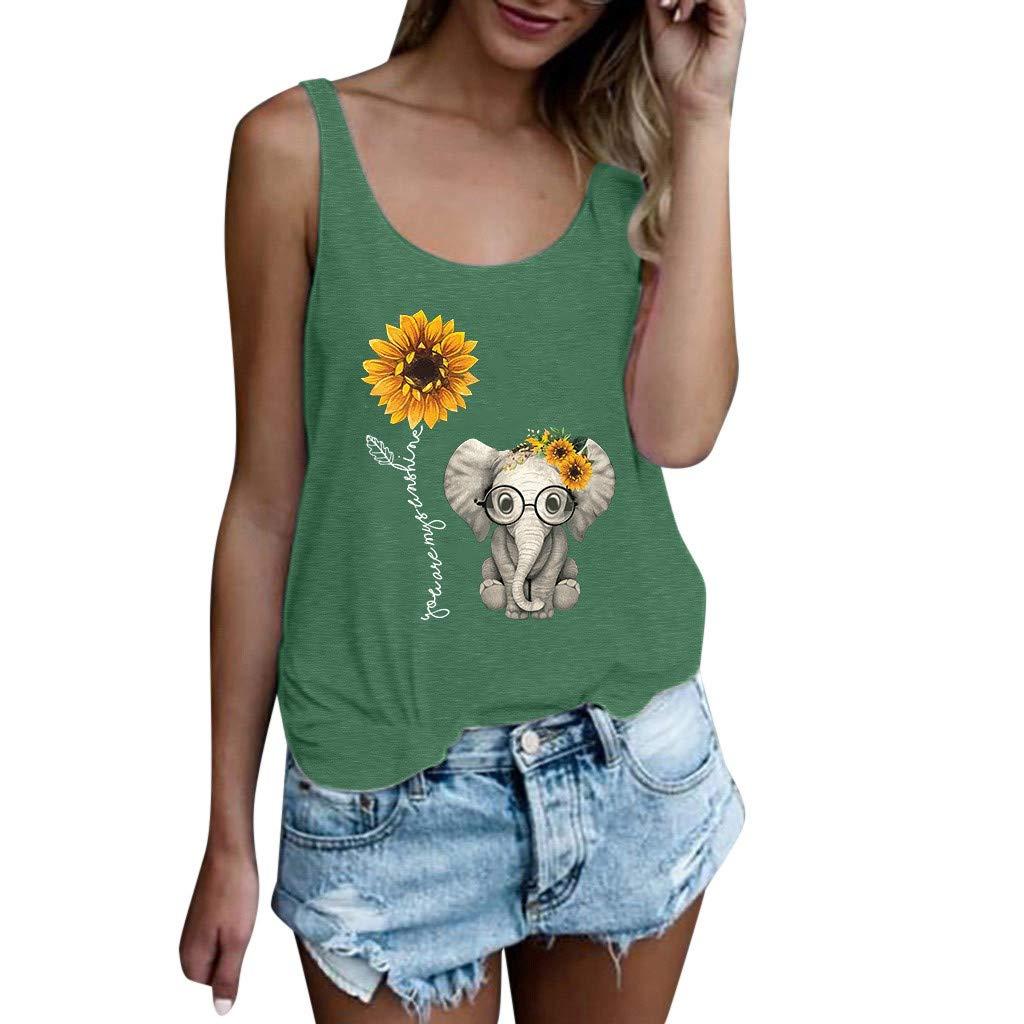 Fitfulvan Womens Love Sunflower Elephant Print Short-Sleeved Vest Top Plus Size Sleeveless Camisole