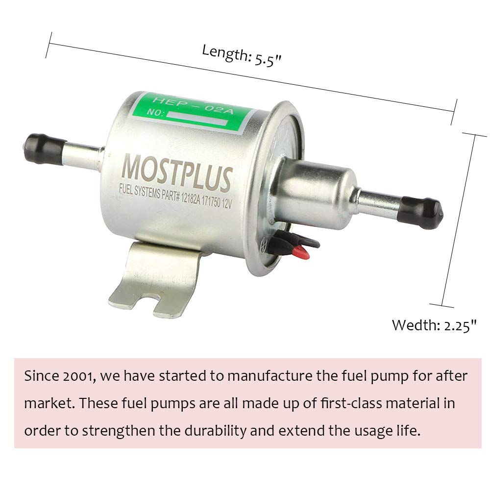 Mostplus Universal 12v Low Pressure Gas Diesel Inline Electric Fuel Pump Specifications Heavy Duty For Motorcycle Carburetor Atv Automotive
