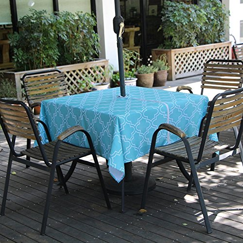 Outside Zippered - Lamberia Outdoor Tablecloth with Umbrella Hole, Water and Stain Resistant, Vinyl Fabric Umbrella Tablecloth for Square Tables Seats 4 (Acid Blue, 60