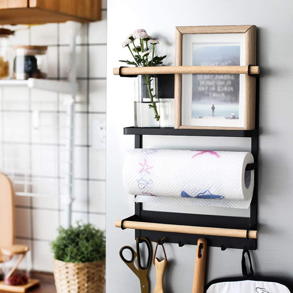 Refrigerator Spice Rack Organizer, 4 Tier Magnetic Fridge Storage Shelf, Mounted Multi Use Kitchen Storage Basket, 6 Removable Hooks, Paper Towel Roll Holder, Pantry Wall, Laundry Room, Garage