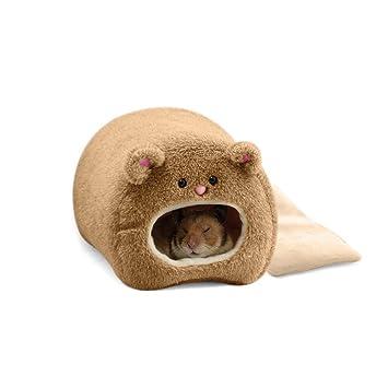 Pixnor Caseta para ratones, hámster, jaula de invierno, cálida, Hamaca, con diseño de simpático oso, casa con cama: Amazon.es: Electrónica