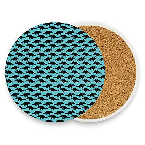 (BeautyToiletLidCoverABC Triassic Period Primitive Triceratops Silhouettes Pattern Illustration Coaster for Drinks,Wallpaper Ceramic Round Cork Table Cup Mat Coaster Pack Of 1)