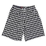 Houndstooth Sublimated Lacrosse Black / White Shorts, Black-White, Medium