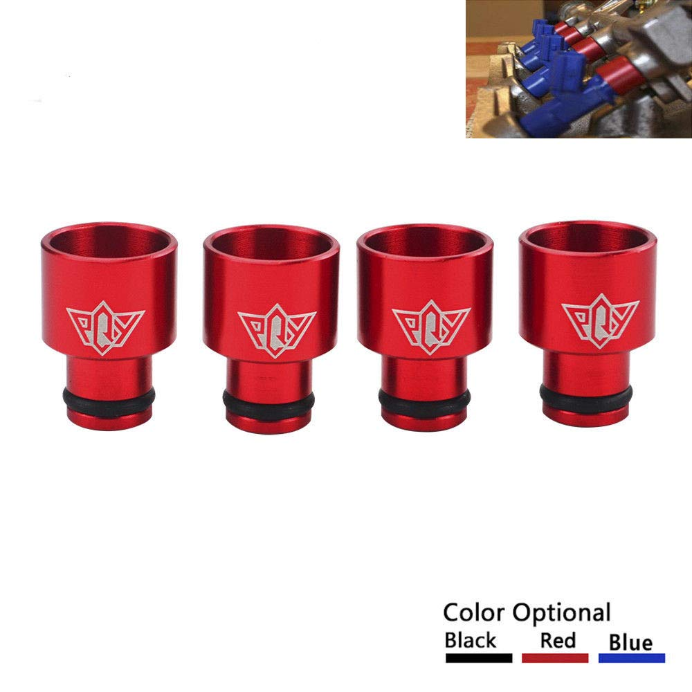 PQYRACING 4pcs Racing PQY Fuel Injector Top Hats Adapters RDX Injectors to B16 B18 D16Z D16Y with PQY Sticker