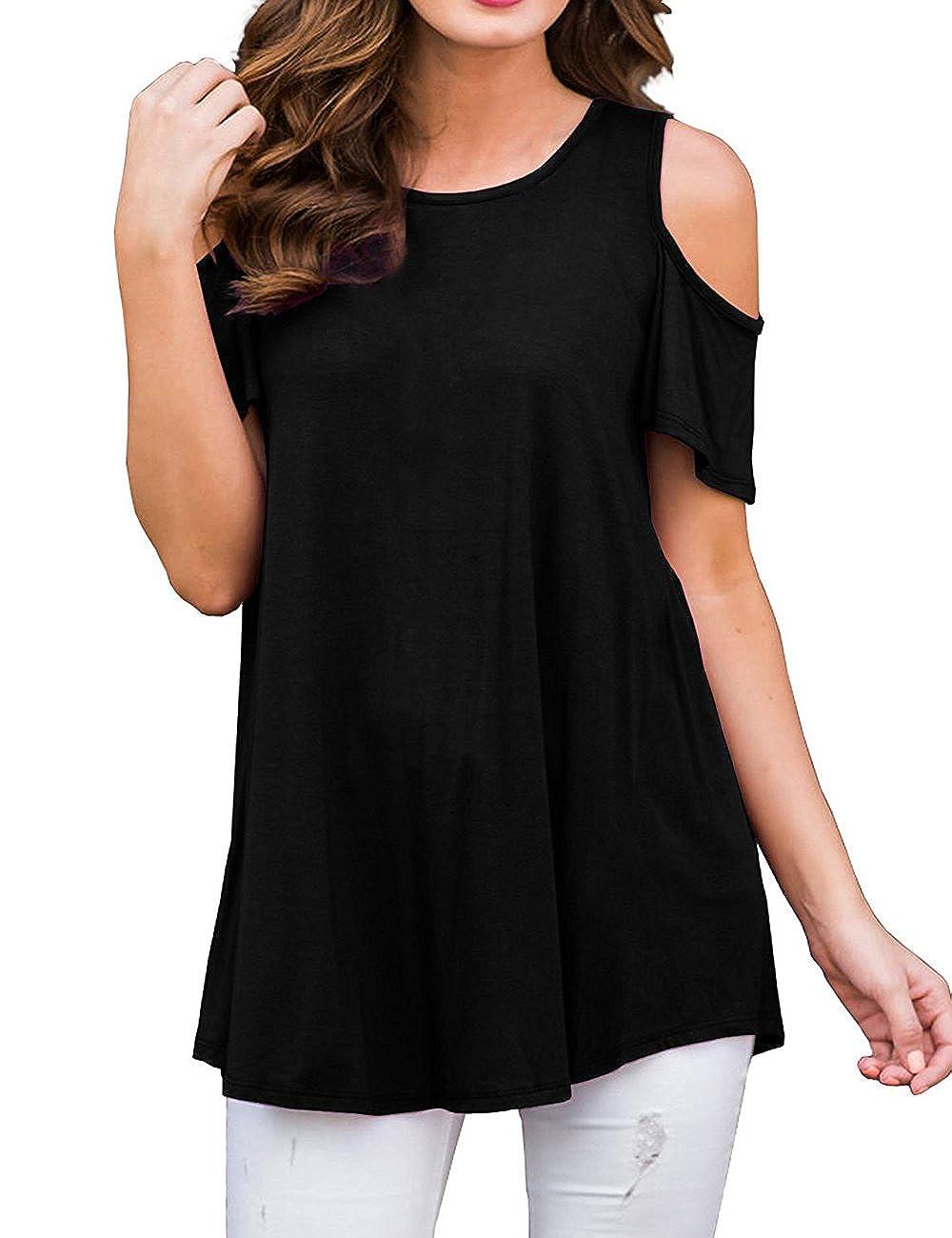 Black ACKKIA Women Navy Casual Floral Print Cold Shoulder Short Sleeve Blouse Shirt Top