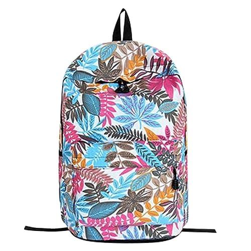 fa17a06ef7813 Roseonie Reise Rucksack Teenager Mädchen Schule Rucksack Tasche Blätter  Druck Studentinnen Taschen Mode Blatt Gedruckt Erwachsenen