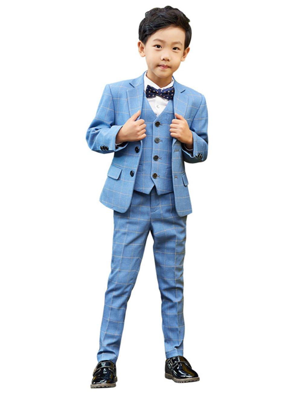Beautydress Boys 5 Pieces Plaid Formal Suit Slim Fit Tuxedo Set Dresswear BP228