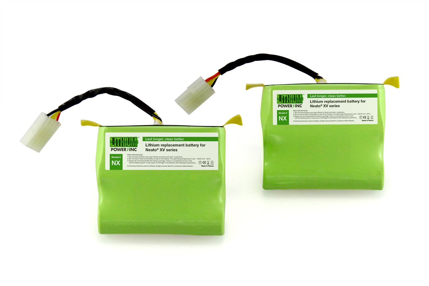 Lithium Neato XV Series Replacement Battery for Neato XV-11, XV-12, XV-14, XV-15, XV-21, XV-25, XV Essential, XV Signature and XV Signature Pro, 4400mAH (Set of 2) - UL&CE Certified Battery Component