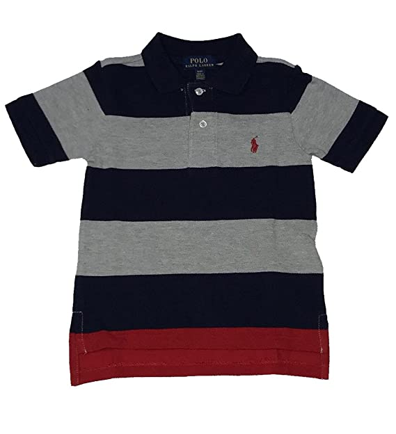 5c409e62d8 Image Unavailable. Image not available for. Color: RALPH LAUREN Polo Boy's Wide  Striped Polo Collar Shirt ...
