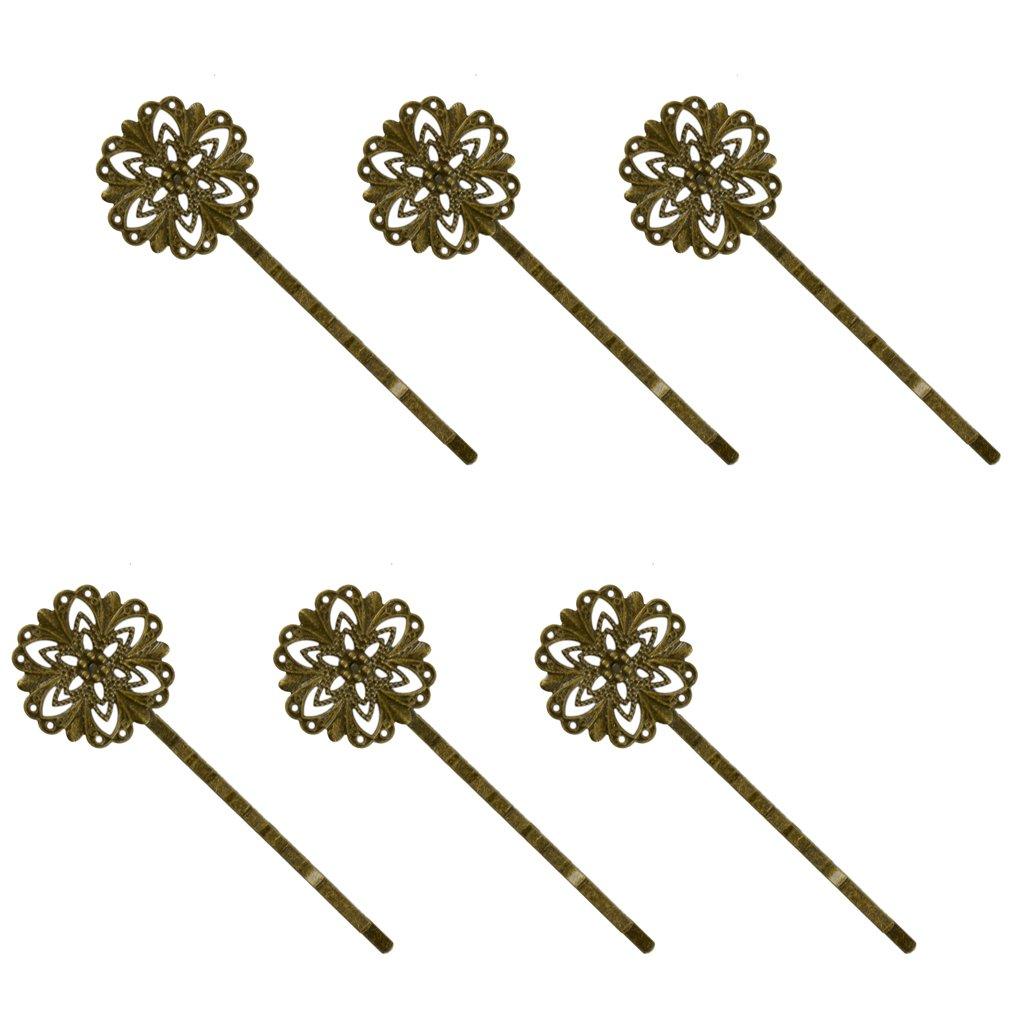 6pcs Retro Vintage Broze Hair Clips Hairpins Metal Snowflake Bobby Pins Generic STK0156001058