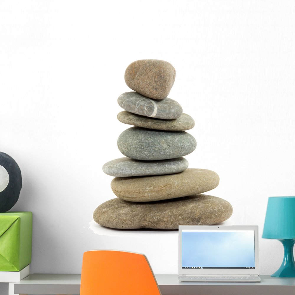 Wallmonkeys Zen Spa Stacked Stones Wall Decal by Peel and Stick Graphic (24 in W x 23 in H) WM140662