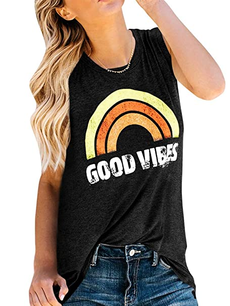 d3d01925a9109 Sherrylily Womens Summer Graphic Printed Tank Tops Sleeveless Crewneck  Tunic Tops T-Shirts Black