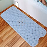 Nono's dream Bath Tub and Shower Mat Extra Long 16 x 40 Inch,Anti Bacterial,Phthalate Free,Latex and Machine Washable Large Mats Materials,Blue