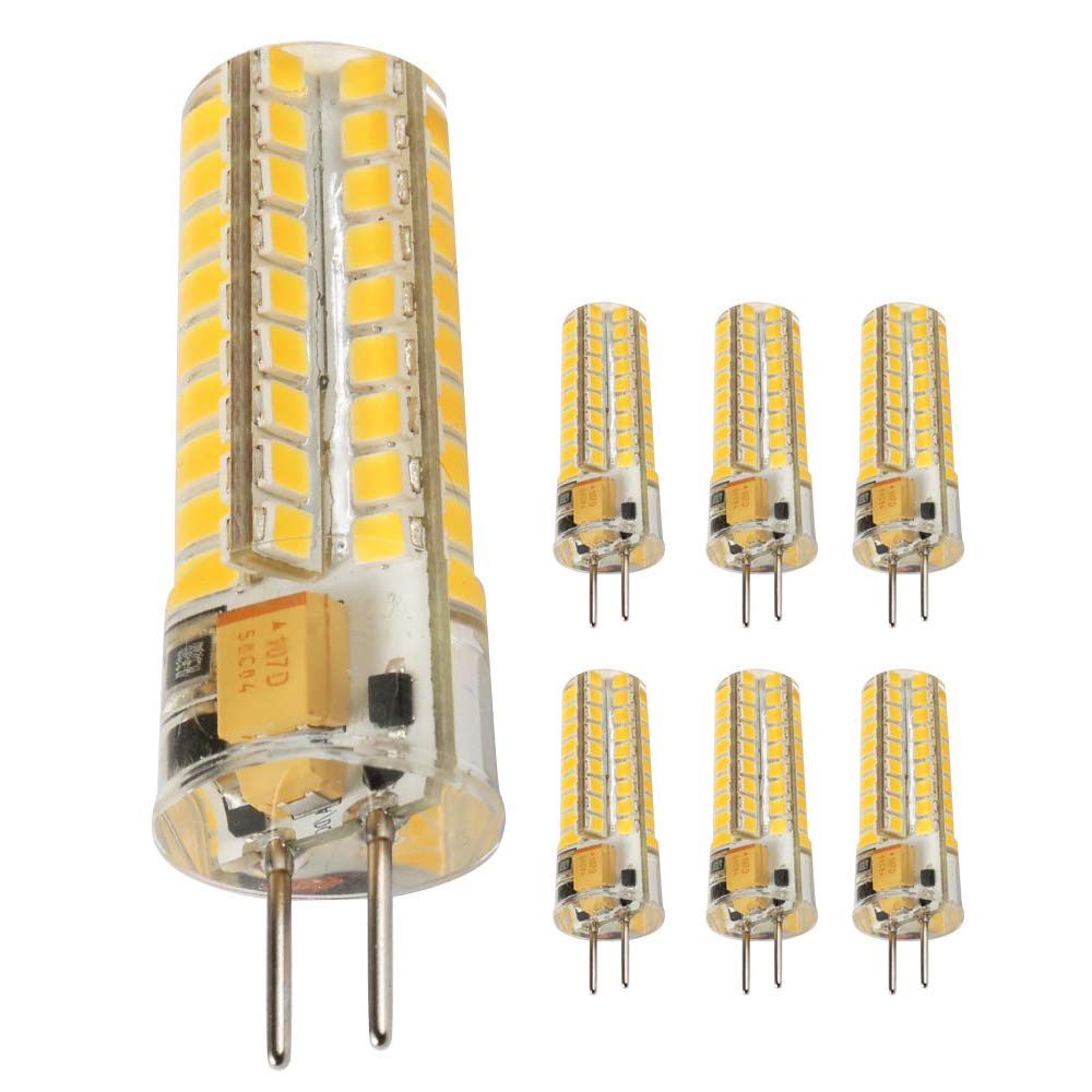 Ukey U GY6.35 LED Bulbs 5W Bi-pin Base AC/DC 12V 2700K Warm White Dimmable, G6.35/GY6.35 Base JC Type LED Halogen Incandescent 50W Replacement Bulb 6Pack (5)
