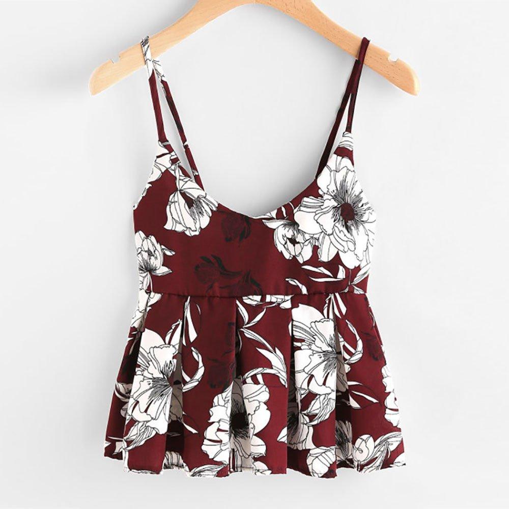 c7687d38878c97 Kulywon Women Sleeveless Floral Print Ruffles Blouse Crop Tops Vest Tank  Cami T Shirt at Amazon Women s Clothing store