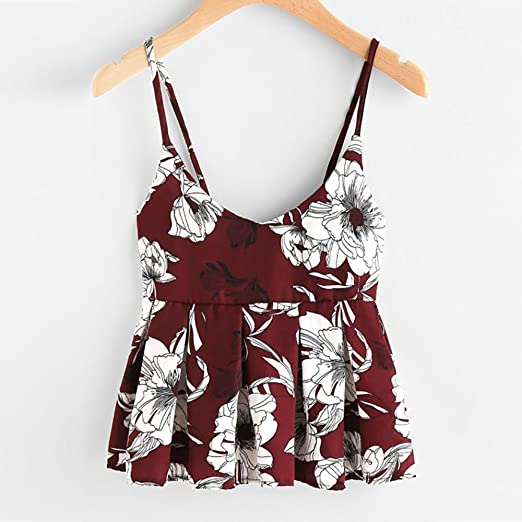 754d7db3c0664 ILUCI Womens Tank Top Clearance Floral Printing Cami Shirt Sleeveless  Blouse Casual Ruffles Crop Tops Camisole Sale at Amazon Women's Clothing  store:
