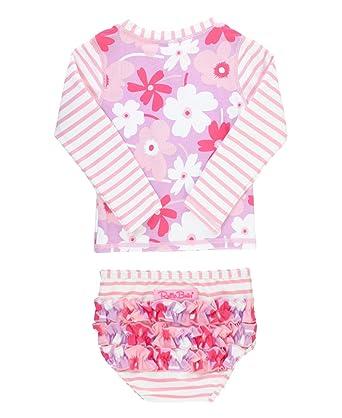 41e2284994023 RuffleButts Baby/Toddler Girls Happy Petals Raglan Rash Guard Bikini -  12-18m