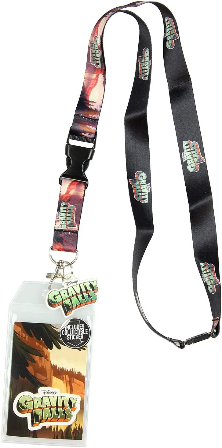 Disney Gravity Falls Forrest Scenery Lanyard Keychain ID Holder Gravity Falls Title Rubber Charm and Sticker