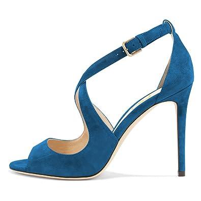 be7c60ae785 FSJ Women Sexy Faux Suede Sandals Peep Toe Stiletto Heels Pumps Cross Strap  Cutout Shoes Size