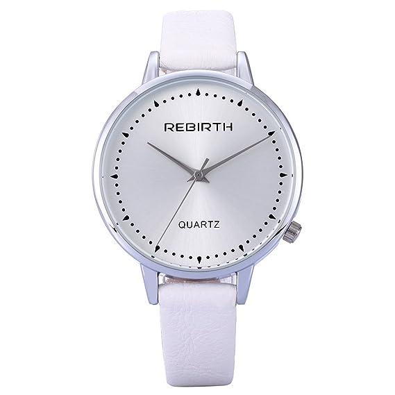 souarts Mujer Color Blanco Diseño Simple piel sintética Reloj de pulsera Quartz Reloj analógico con batería
