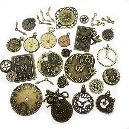 (100 Gram (Approx 20 pcs) Assorted Antique Bronze Steampunk Big Clock Dial + Pointer Charms Pendant Collection--Antique Silver Bronze, Jewelry Making for Necklace and Bracelet (Bronze Clock)
